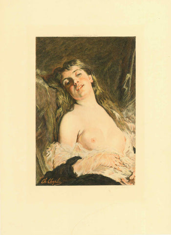 "No title. Lascivious girl.  Etching by Eugene Gaujean (1850-1900). After a painting by Charles Joshua Chaplin (1825-1891)  Printed in color.  Publisher: Georges Barnis  Paris, dated 1893  Print is mounted on carton with a glue spot in the four corners.  The artists names marked on the carton in pencil hand writing.  There is a penciled title given: ""Recollections"", which may be assumed to be correct. Looking at the young lady she is indeed recollecting a wonderful love experience.  The painting can be seen"