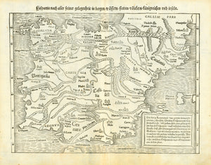 """Hispanien nach aller seiner Gelegenheit in bergen / wassern / stetten / voelkern / koenigreichen und inseln""  Woodcut Published in ""Cosmographia""  By Sebastian Muenster (1488-1552)  Basel, 1553  This is a very early map of the Iberian Peninsula. What a nice map! Thanks to Sebastian Muenster! And his ""Cosmographia""!  On one side of the reverse is a small, decorative emblem with idealistic scenes and persons."