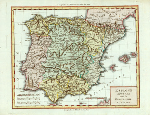 """Espagne Moderne pour la Geographie comparee""  Hand-colored copper engraving published ca 1785. Anonymous. Fine map of Spain and Portugal with topographical details. Very good condition."