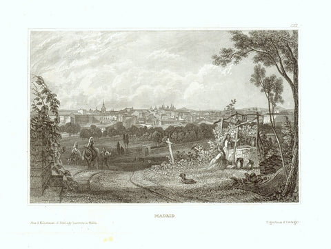 """Madrid""  Steel engraving published by the Bibl. Institut in Hildburghausen ca 1850."
