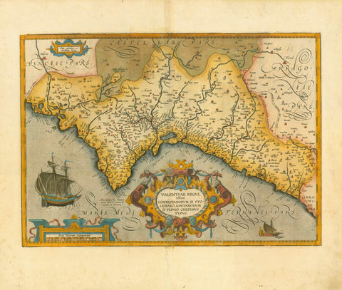 """Valentiae Regni olim Contestanorum si Ptolemaeo, Edetanorum si Plinio Credimus Typus""  Copper engraving map from a rare Abraham Ortelius edition. Published in Antwerp. Dated 1584  but may have been later. Ortelius (1527-1598) was known as the Ptolomeus of the 16th Century.  The map has original hand coloring which is shown by the green areas on the reverse side of the map.  The text on the reverse side is Italian.  In the upper left is Murcia and in the Upper right is Teruel. Very decorative cartouche.  Or"