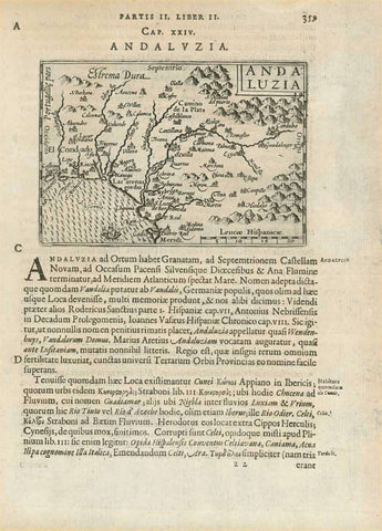 """Andaluzia""  Woodcut map of Andalucia by Paul Merula (1558-1607). From ""Pauli G.F.P.N. Merulae cosmographiae generalis libri II"", 1605.  Latin text below the image and on the reverse side gives early information about Andalucia by Plinius, Strabo, Herodotus and other ancient writers.  Original antique print , interior design, wall decoration, ideas, idea, gift ideas, present, vintage, charming, special, decoration, home interior, living room design"