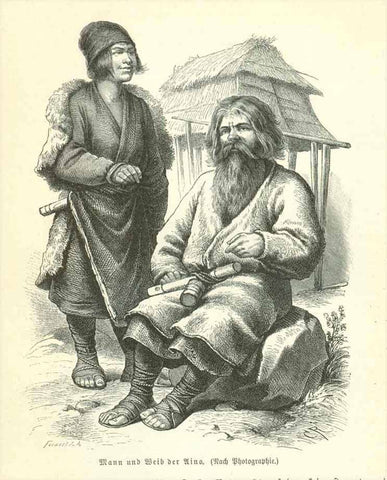 """Mann und Weib der Uino"" (Aino)  Wood engraving made aftr a photograph 1895. Below the image and on the reverse side is text in German about the Uino (Aino) in Japan."