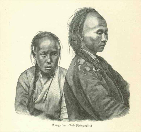 """Tungusen""  There are about 11 million Tungesen in China and a few in Mongolia and Russia.  Wood engraving made from a photograph 1895. Below the image and on the reverse side is text about the Tungusen, Jaluten and Julagiren."