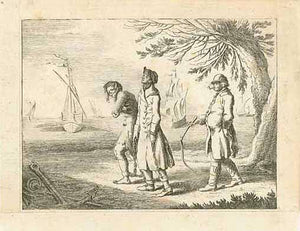 No Title  Slave is chained at the foot by a slave dealer and followed by another with a whip. In the background are ships waiting.  Copper engraving ca 1780. The left and lower margins have been added. Minor signs of age and use.  Original antique print  Kolonialgeschichte, Sklavenhandel, Sklaven