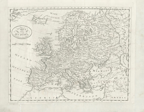"""Carta dell'Europa""  Rare map of Europe.  Copperplate etching by Carlo Cominotti.  Published by Vignozzi. Livorno, ca. 1820  This map of Europe produced by an Italien engraver and publisher, was part of a duodez (small) book. Several vertical and horizontal folds indicate the duodez format.  Place names are spelled in the Italian version."