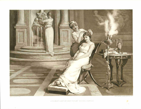 """A Roman Lady at her Toilette. Fourth Century""  Photogravure after the painting by Amos Cassioli (1832-1891)  Roman Lady has her hair done in a very elegant home setting.  Published in London, ca. 1890  Original antique print"