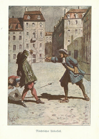 """Naechtlicher Ueberfall"" (Attack at night)  Chromolithograph by R. Knoetzi, published 1910."