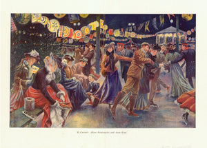 """E. Cucuel: ""Eine Festnacht auf dem Eise"".  Printed in color ca 1905. Vertical centerfold to fit original book size. Reverse side is printed."