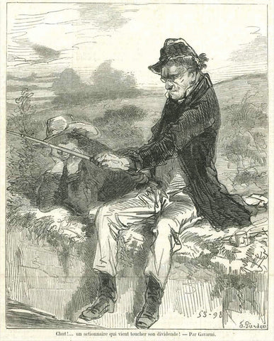 """Chut!......un actionnaire qui vient toucher son dividende!""  A stockholder going to get his dividends!  Wood engraving by F. Pierdon after Gavarni. Published 1857."