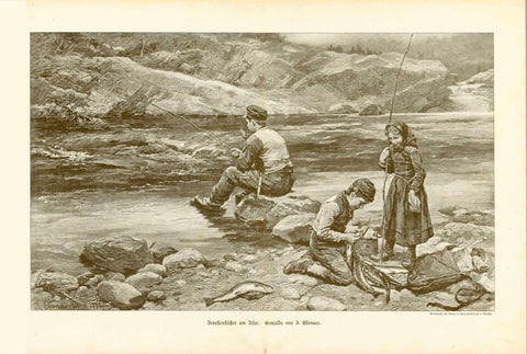 """Forellenfischer am Ufer"" (trout fishing)  Wood engraving made after a photograph of painting by Jahn Ekenaes (1847-1920).  Original antique print , Forelle, Angeln, ANgler"
