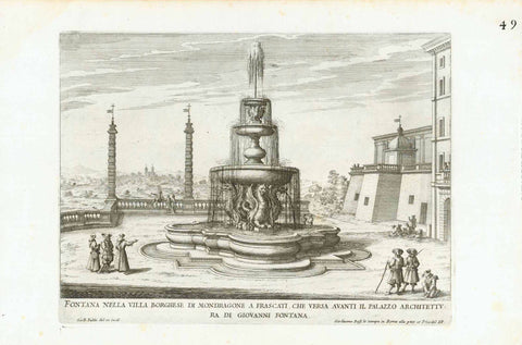 """Fontana Nella Villa Borghese Di Mondragone a Frascati Che Versa Avanti il Palazzo Architettura di Giovani Fontana"", Fountains of Rome  Copper etchings designed and engraved by Gio. Francesco Venturini from:  ""Le Fontane Ne' Palazzi e Ne' Giardini di Roma, con li Loro Prospetti et Ornamenti"".  by Giovanni Battista Falda, 1691, interior design, wall decoration, ideas, idea, gift ideas, present, vintage, charming, special, decoration, home interior, living room design"