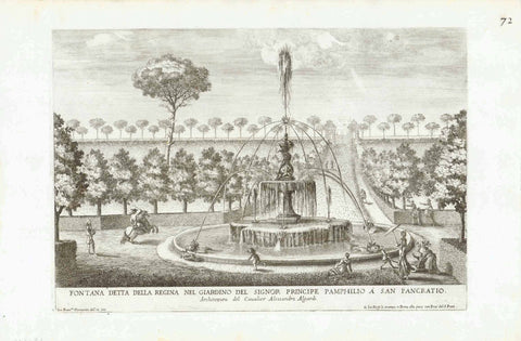 """Fontana Detta Della Regina Nel Giardino Del Signor Principe Pamphilio a San Pancratio"" ""Architettura del Caualier Alessandro Algardi""  Image size without title: 19 x 31 cm ( 7.4 x 12.2"")  Fountains of Rome  Copper etchings designed and engraved by Gio. Francesco Venturini from:  ""Le Fontane Ne' Palazzi e Ne' Giardini di Roma, con li Loro Prospetti et Ornamenti"".  by Giovanni Battista Falda, 1691"