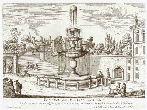"""Fontana nel Palzzo Vaticano a piedi la scala che va al forno, et avnti la porta che entra in Belvedere, Archita. di Carlo Maderno""  Designed and engraved by G. B. Falda 1691, interior design, wall decoration, ideas, idea, gift ideas, present, vintage, charming, special, decoration, home interior, living room design"