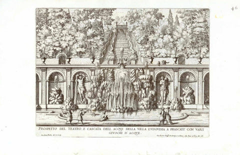 """Prospetto del Teatro E Cascata Dell Aque Della Villa Ludovisia a Frascati Con Varii Giuochi D Acque""  Designed and engraved by Gio. Falda., 1691, interior design, wall decoration, ideas, idea, gift ideas, present, vintage, charming, special, decoration, home interior, living room design"