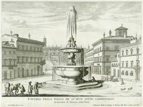 """Fontana Nella Piazza De SS.Mvti Sotto Campidoglio"" ""Architettura di Giacomo della Porta""  Designed and engraved by G. B. Falda., interior design, wall decoration, ideas, idea, gift ideas, present, vintage, charming, special, decoration, home interior, living room design"