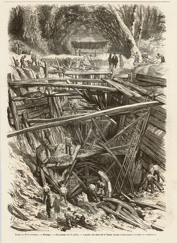 """Foret de Fontainebleau. - Bouligny. - Eboulement du 20 Juillet. Aqueduc des eaux de la Vanne""  Wood engraving published ca 1880. On the reverse side is an article about the collapse of the aqueduct on the River Vanne.  Original antique print"
