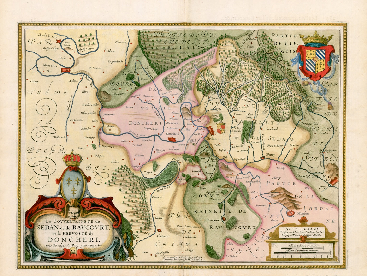 Maps, France, Region of Sedan, Luxembourg, Hondius