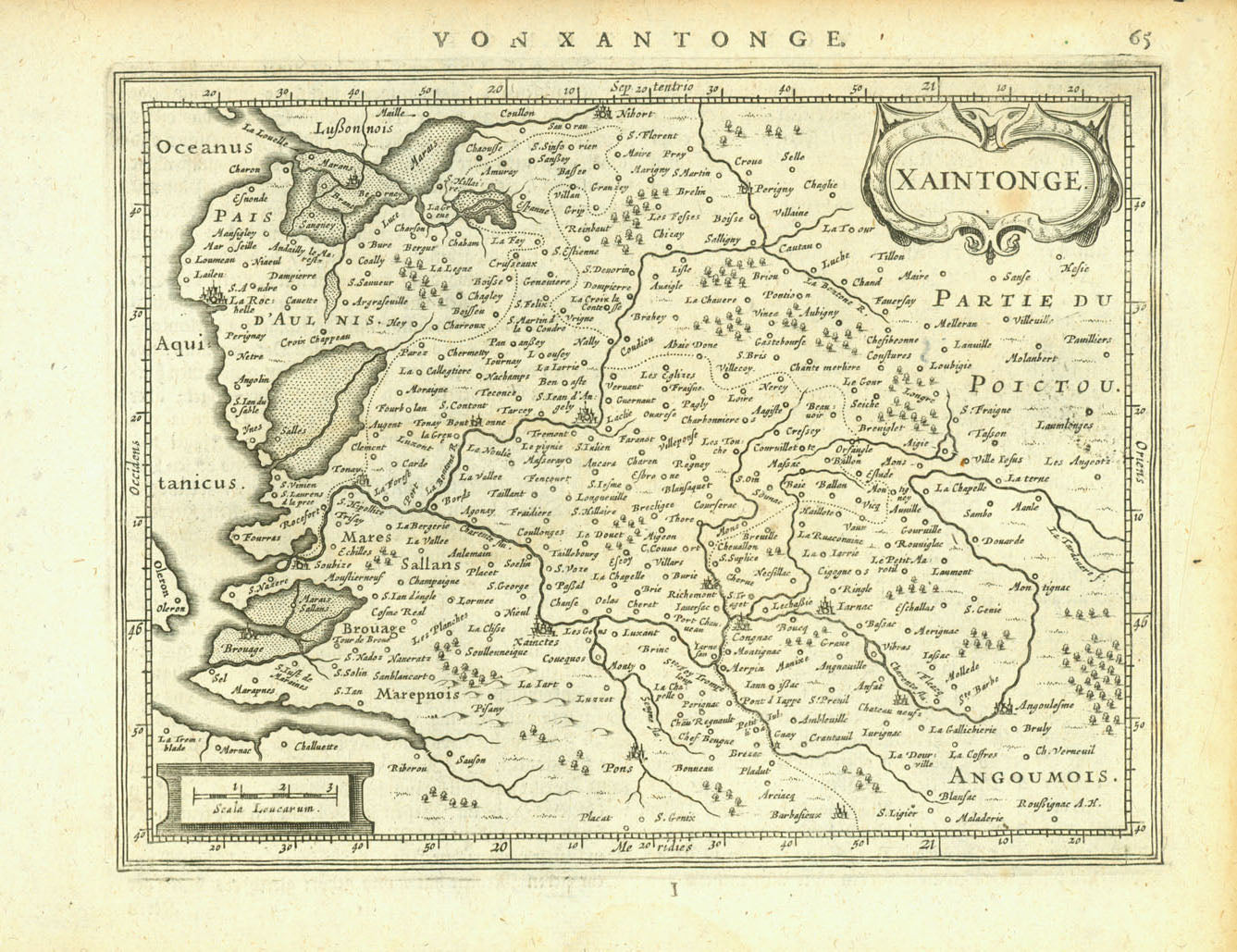 """Von Xantonge"" ""Xaintonge""  Copper engraving map from ""Atlas Minor: Das ist: Eine kurze jedoch gründliche Beschreibung der gantzen Welt in Zwei Theile abgebildet"" by Jan Jansson, 1651.  On the reverse side is text ( in German ) about Xaintonge."