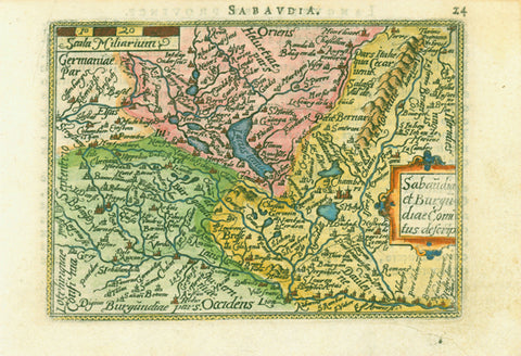 """Saubaudia""  Copper etching with hand coloring from the pocket atlas by A. Ortelius. Antwerp, ca 1580.  This map is east oriented. North is on the left side.  In the upper left is Strassburg and Basel. Part of the pink area is Switzerland. French text on reverse side describes Languedoc."