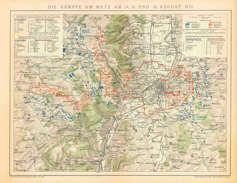 """Der Kampf um Metz am 14., 16, und 18 August 1870""  Very detailed map of te battle in 1870 around the city of Metz. The positions of the various troups are shown in colors matching the color keys in the upper right and left.  Map published ca 1890.  Original antique print, interior design, wall decoration, ideas, idea, gift ideas, present, vintage, charming, special, decoration, home interior, living room design"