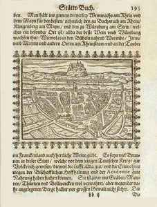 "Wuerzburg  Woodcut on a page of text published in Frankfurt 1658. From Abraham Saur: ""Staette-Buch: Oder Ausfuehrliche und auss vielen bewehrten und nuen Scribenten zusammen in ein Corpus gebrachte Beschreibung der fuernemste Staette"", interior design, wall decoration, ideas, idea, gift ideas, present, vintage, charming, special, decoration, home interior, living room design"
