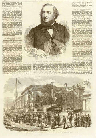 "Top: Music Composer: William Vincent Wallace  ""Laying the foundation-stone of the new Masonic Temple at Shanghai""  Wood engraving. Published in London, 1865  Reverse side has article ""The Freemasons in China"""