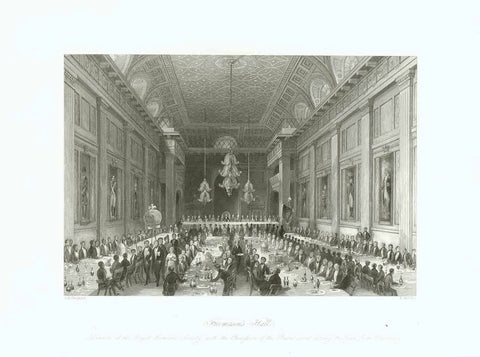 """Freemason's Hall"" ""Dinner of the Royal Humane Society with the Procession of the Persons saved during the Year from Drowning""  Steel engraving by H. Melville after T. H. Shepard ca 1850."