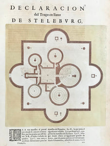 "Declaracion del Traco en llano de Steleburg.  Copperetching by Joan Blaeu (1599 - 1673) in original hand coloring (2 tones of brown).  Plan of Steleburg, Tycho Brahe's (1546 - 1601), Danish astronomer, astrologer and alchemist, research institute on the island of Hven (belongs to Sweden).  Clean, well preserved. Ground color a little flaked off on right side. Print on backside is Spanish (showing through slightly, but not disturbingly).  26.5 x 26.5 cm (10.4 x 10.4"")"