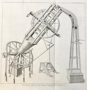 Astronomical Instruments Equatorial Instrument made by Ramsden for Sir Geo. Shuckburgh.  Copper engraving by Sid. Hall after J. Farey, dated 1820. Light browning of margin edges.