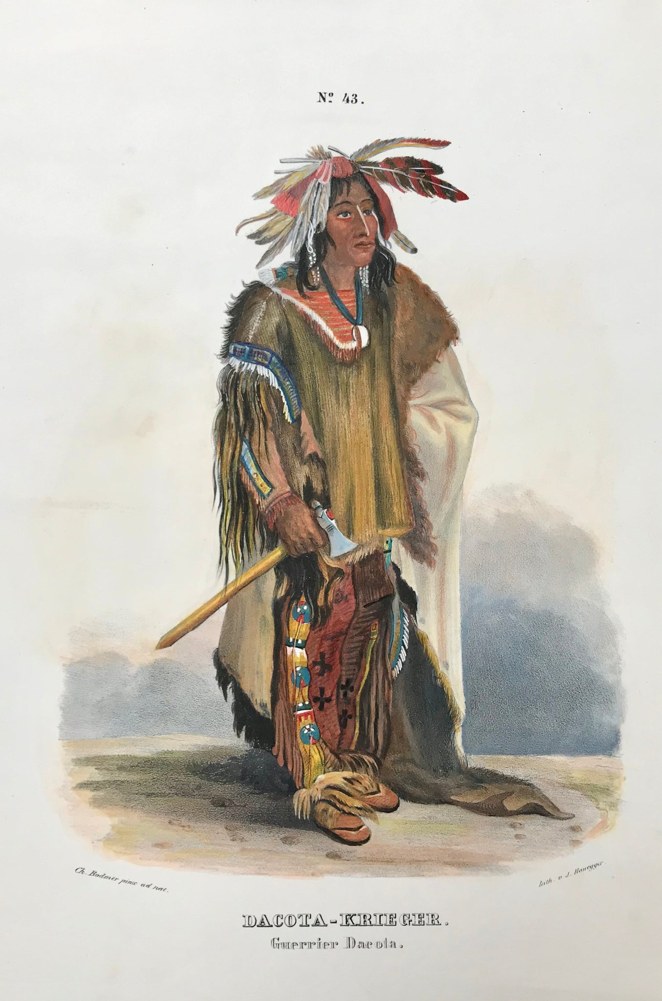 """Dacota-Krieger - Guerrier Dacota""  The lithographs of plains Indians and their culture were printed in  ""Naturgeschichte und Abbildungen des Menschen und der verschiedenen Rassen und Staemme nach den neuesten Entdeckungen und vorzueglichsten OriginalenÉ""  by Heinrich Rudolf Schinz (1777-1861).  These lithographs of Native Americans were done by  the lithographer J. Honegger  after  Johann Carl Bodmer (1809-1893), who had traveled in America together with  Prince Maximilian Alexander Philipp zu Wied-Neuwied"