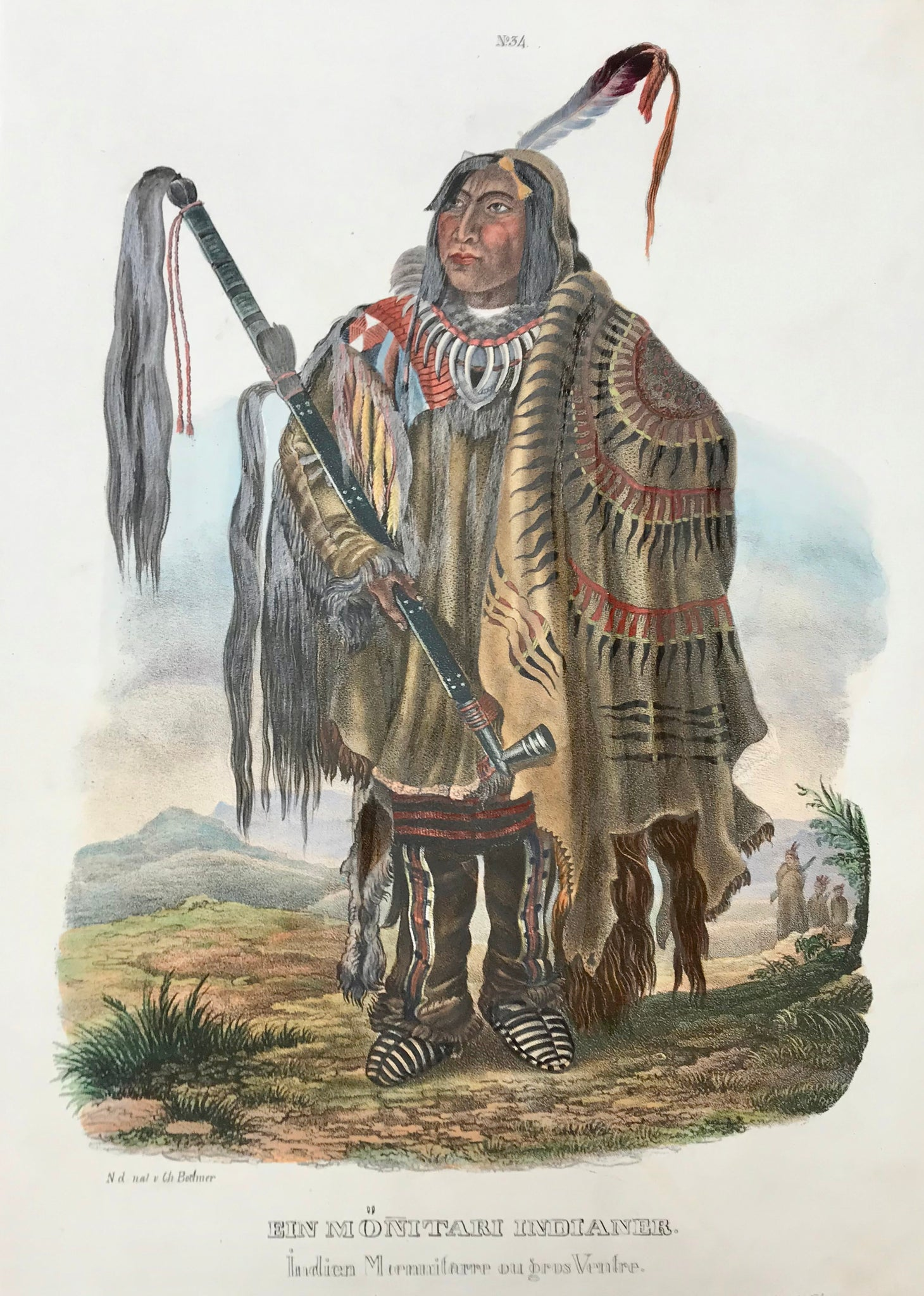 """Ein Moenitari Indianer - Indien Moenitarre ou gros Ventre""  The lithographs of plains Indians and their culture were printed in  ""Naturgeschichte und Abbildungen des Menschen und der verschiedenen Rassen und Staemme nach den neuesten Entdeckungen und vorzueglichsten OriginalenÉ""  by Heinrich Rudolf Schinz (1777-1861).  These lithographs of Native Americans were done by  the lithographer J. Honegger  after  Johann Carl Bodmer (1809-1893), who had traveled in America together with  Prince Maximilian Alexande"