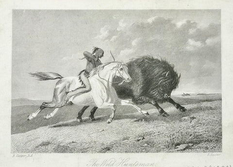"""The Wild Huntsman""  Steel engraving by E. Hacker after A. Cooper ca 1870.  10 x 15 cm ( 3.9 x 5.9 "")"