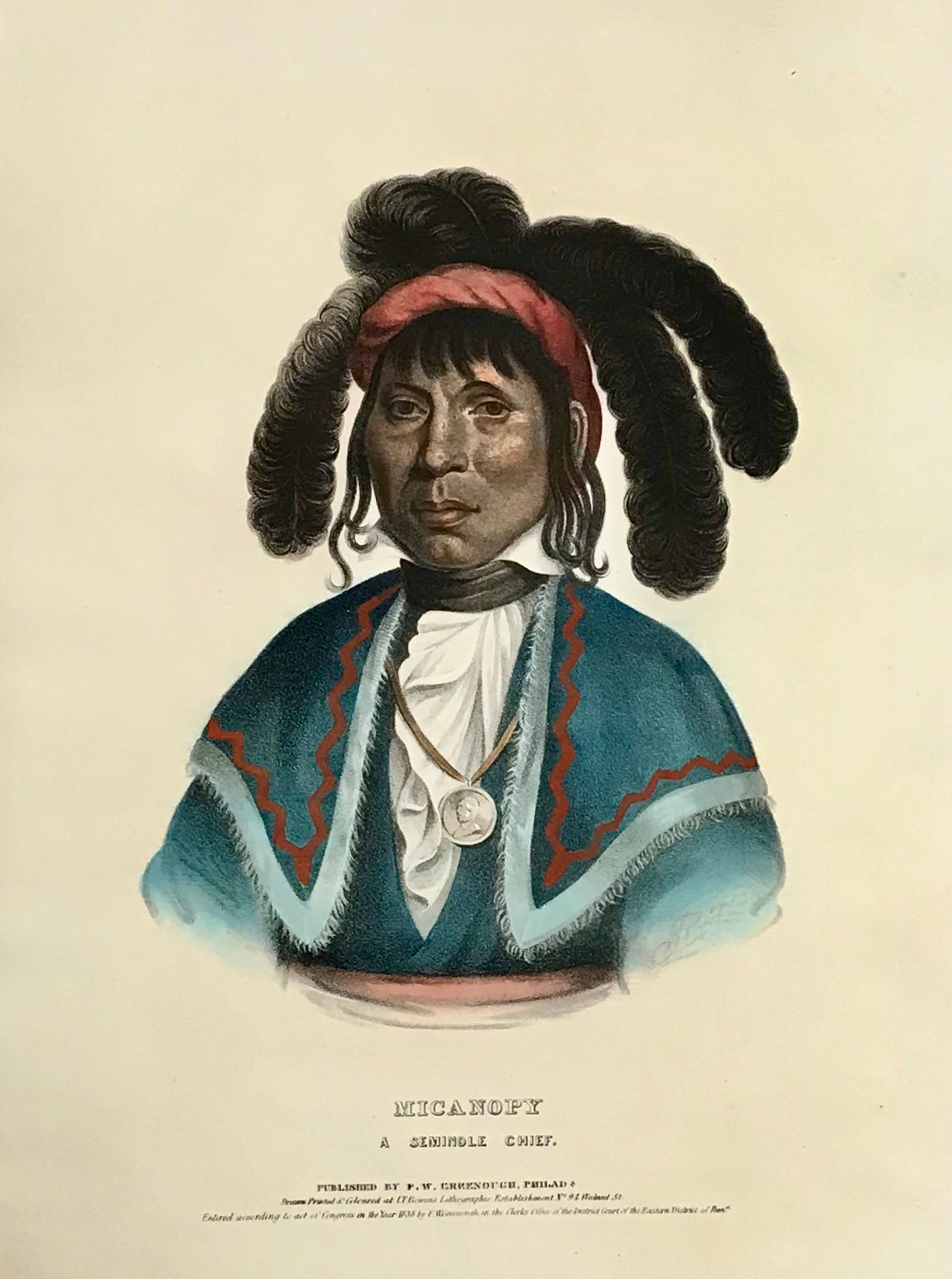 """Micanopy. A Seminole Chief"" Lithograph. Original hand coloring Painting by Charles Bird King (1785-1862) Published in: ""History of the Indian Tribes of North America"" Authors: Thomas Loraine McKenny (1785-1859) and James Hall (1793-1868)"