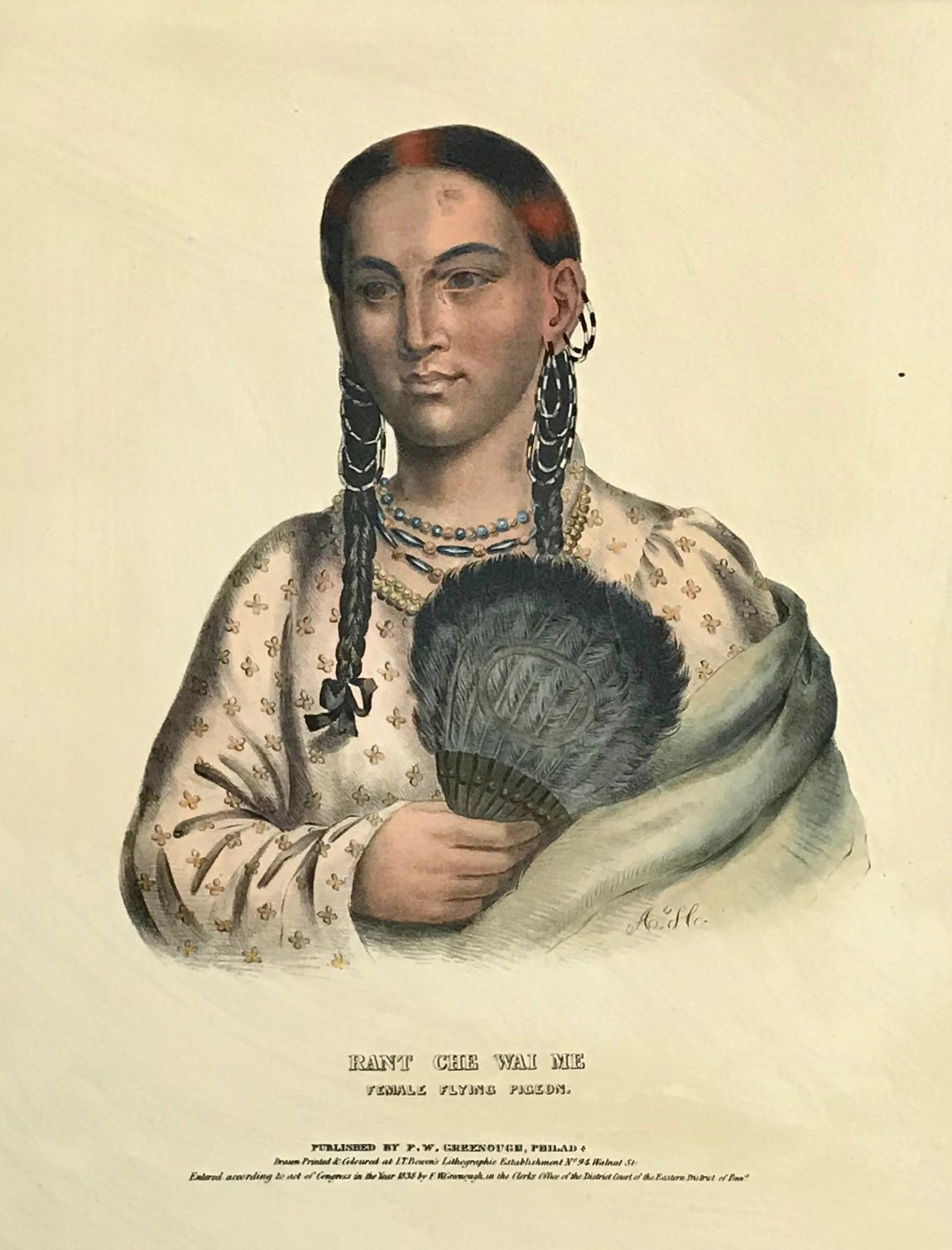 """Rant Che Wai Me Female Flying Pigeon"" Lithograph. Original hand coloring Painting by Charles Bird King (1785-1862) Published in: ""History of the Indian Tribes of North America"" Authors: Thomas Loraine McKenny (1785-1859) and James Hall (1793-1868) Folio edition"