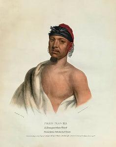 """Peah-Mas-Ka A Musquawkee Chief"" Lithograph. Original hand coloring Painting by Charles Bird King (1785-1862) Published in: ""History of the Indian Tribes of North America"" Authors: Thomas Loraine McKenny (1785-1859) and James Hall (1793-1868)"