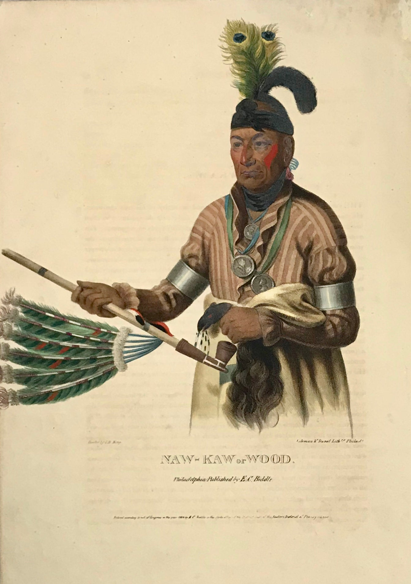 """Naw-Kaw or Wood"" Lithograph. Original hand coloring Painting by Charles Bird King (1785-1862) Published in: ""History of the Indian Tribes of North America"" Authors: Thomas Loraine McKenny (1785-1859) and James Hall (1793-1868)"