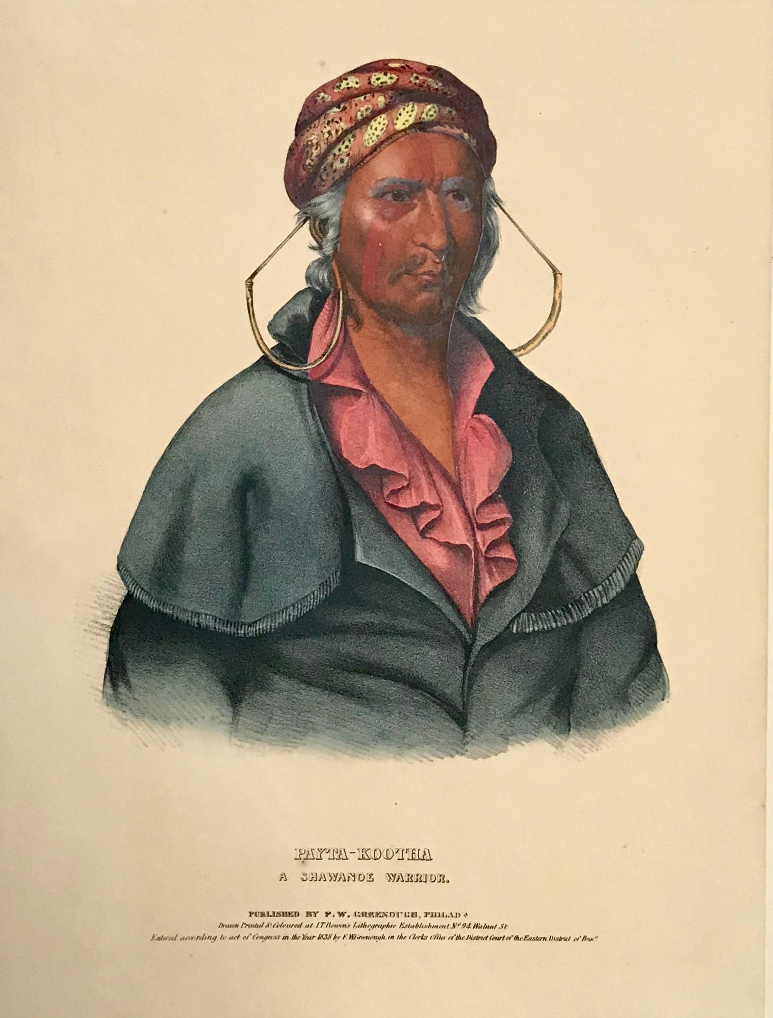 """Payta-Kootha - A Shawanoe Warrior"" Lithograph. Original hand coloring Painting by Charles Bird King (1785-1862) Published in: ""History of the Indian Tribes of North America"" Authors: Thomas Loraine McKenny (1785-1859) and James Hall (1793-1868) Folio edition"