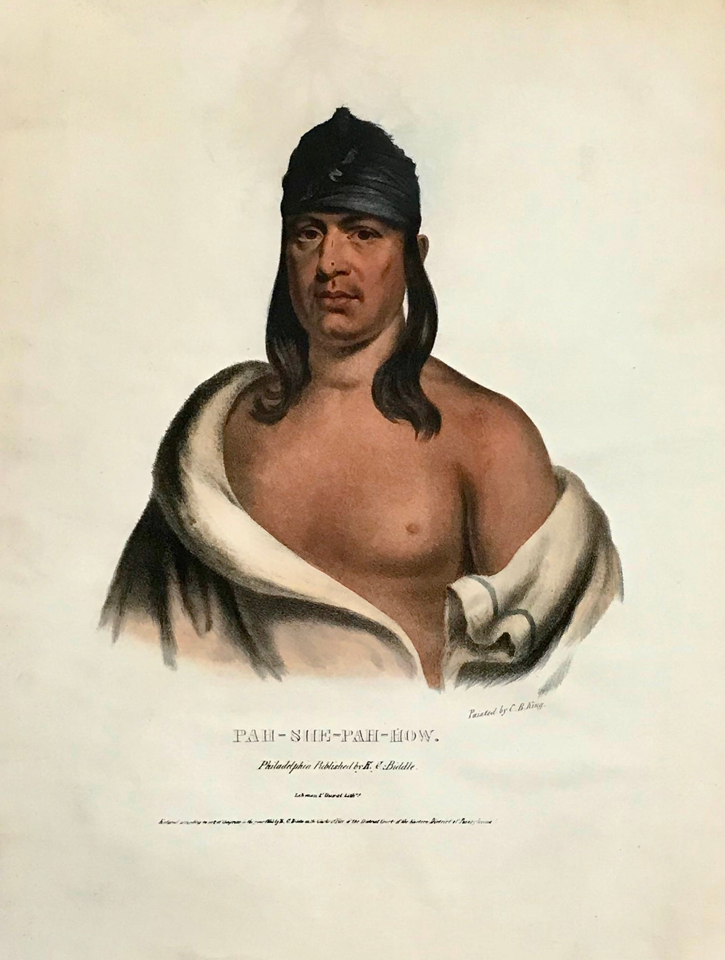 """Pah-She-Pah-How."" Lithograph. Original hand coloring Painting by Charles Bird King (1785-1862) Published in: ""History of the Indian Tribes of North America"" Authors: Thomas Loraine McKenny (1785-1859) and James Hall (1793-1868)"