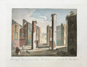 Aquatints engraved by Paul Fumagalli from 1821-1825  These prints with their velvety aquatint appearance were made to delight our hearts. They portrait, like no others, the elegance of architecture and the luxurious lifestyle of the citizens of the ancient city - until the nearby Vesuvius put an end to it all in a devestating rain of volcanic ashes.