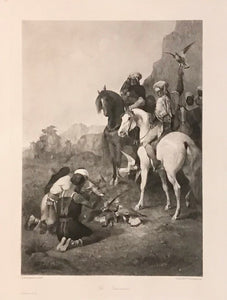 """The Falconers""  Photogravure (Helio gravure) after the painting by Eugene Fromentin (1820 1876).  Falcons have successfully hit a hare. Two Arabian hunters on Arabian horses with falcons on their fists are looking on as the hit hare is secured from two more falcons. Very attractive Arabian hunting scene."