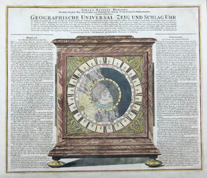 """Geographische Universal - Zeig und Schlag-Uhr""  Copper etching. Original hand coloring. Published by Johann Baptist Homann in Nuremberg.Ca. 1730/40.  Astronomical clock showing the northern hemisphere in day and night during the course of sun and earth for 24 hours. The legend left and right of clock explains the astronomical connections. It is surrounded by the Zodiac symbols. For collectors: California is shown as an island.  The clock was built by famous Nuremberg clock maker Zacharias Land(t)eck"