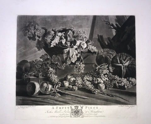 A Fruit Piece  Mezzotint by Richard Earlom (1743 - 1822) after the painting by Michelangelo di Campidoglio (1610 -1670) and the drawing by Joseph Farington (1741 - 1821).  Published by John Boydell. London, 1776