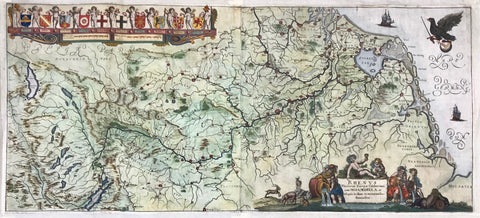 Maps, Germany, Holland, France, River Rhine, Rhenus Fluvorum, Course of the river Rhine, Rheinlauf