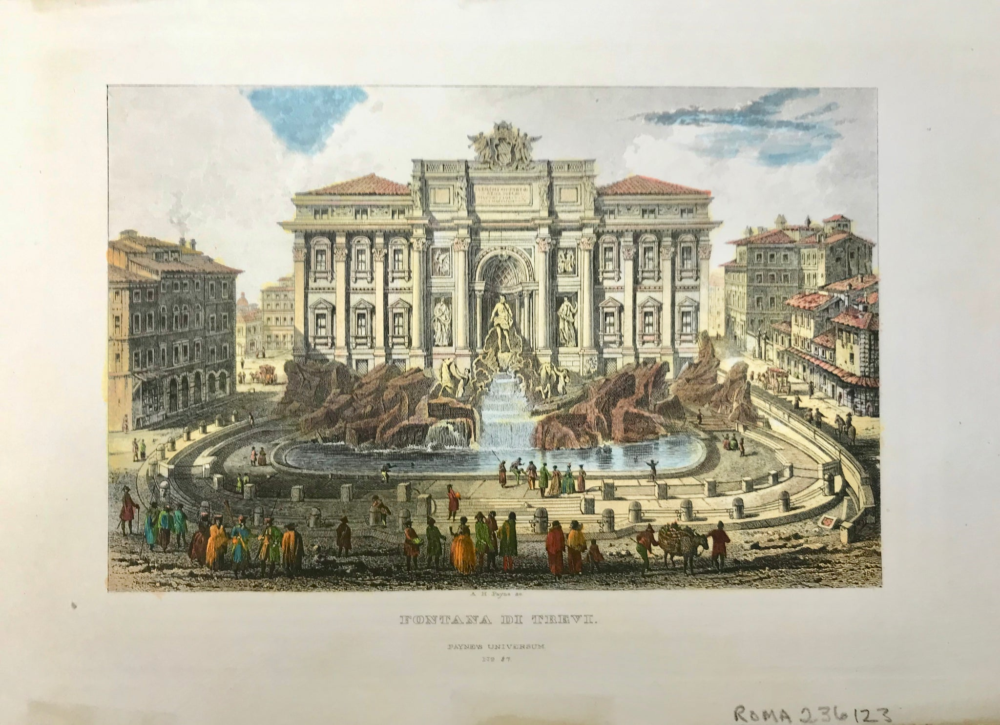 """Fontana Di Trevi""  Fine steel engraving by A.H. Payne ca 1850. Attractive hand coloring.  11.3 x 17.5 cm ( 4.4 x 6.8 "")"