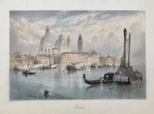 Venice  Steel engraving by A. Willmore after a painting by Birket Foster, ca 1850.  Very attractive hand coloring.