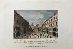 "Der Hof des La Cour du Palais Ducal The Court-yard herzoglichen Pallastes. Corte Del Palazzo Ducale of the Ducal Palace  Copper etching by Aliprandi after Chilone, ca 1820. Published in Milan by Pietro e Giuseppe Vallardi. Attractive modern hand-coloring. Very wide margins.  Image size: 13.5 x 21 cm ( 5.3 x 8.3 "") Page size: 26.9 x 36.5 cm ( 10.5 x 14.3 "")"
