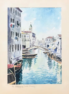 "Title written in pencil on passpartout: ""Chioggia (suedl. Venedig)""  Very pleasant original watercolor painting of a picturesque part of Chioggia."