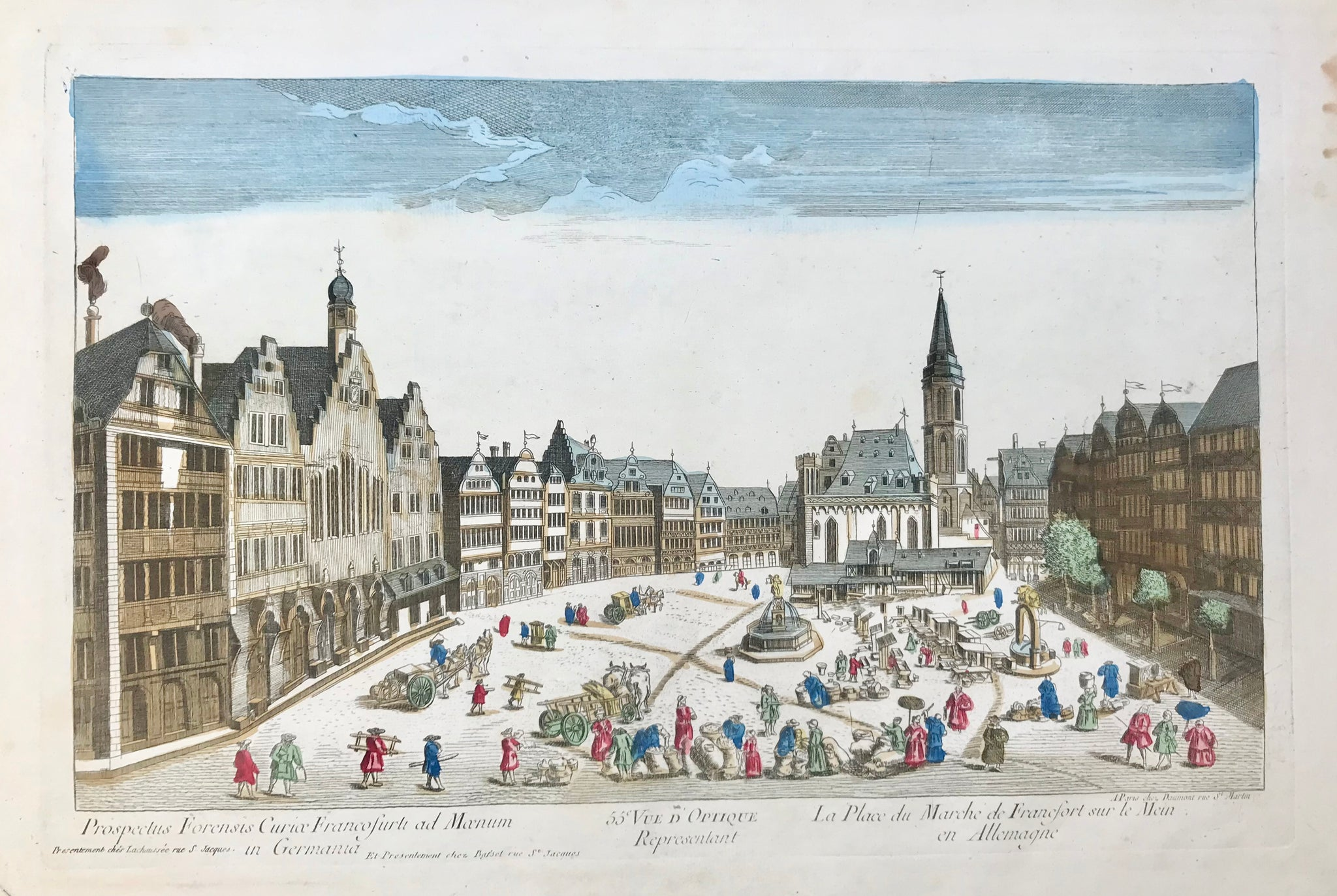 "Frankfurt, Germany. ""La Place du Marche de Francfort sur le Mein en Allemagne"". Market day in Frankfurt.  Vue d'optique Nr. 55). Copper etching. Original hand coloring. Published by Daumont. Paris, ca. 1790."