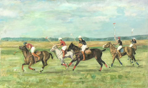 "No title. Five Polo players.  Oil painting on woodboard. Unknown artist. Ca 1960-1980.  Not signed or dated.  Attractive painting in a slight impressionistic style that leaves a good impression when you look at it from a short distance.  Not framed.  40,7 x 66,3 cm ( 16. x 25.9 "")"